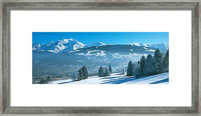Trees With Snow Covered Mountains Framed Print by Panoramic Images
