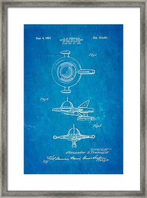 Tremulis Spaceship Hood Ornament Patent Art 1951 Blueprint Framed Print by Ian Monk