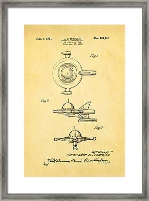 Tremulis Spaceship Hood Ornament Patent Art 1951 Framed Print by Ian Monk