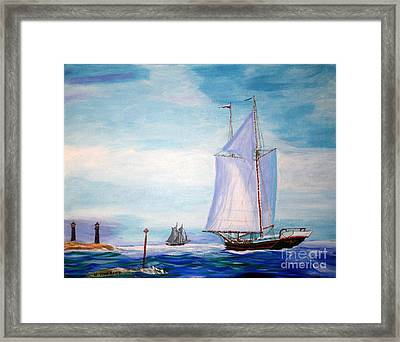 Trending Into Maine - Coaster's Meeting Framed Print by Bill Hubbard