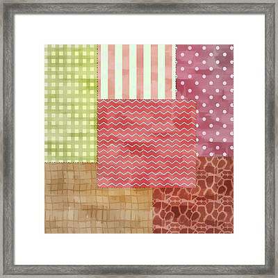 Trendy Patchwork Quilt Framed Print by Tracie Kaska