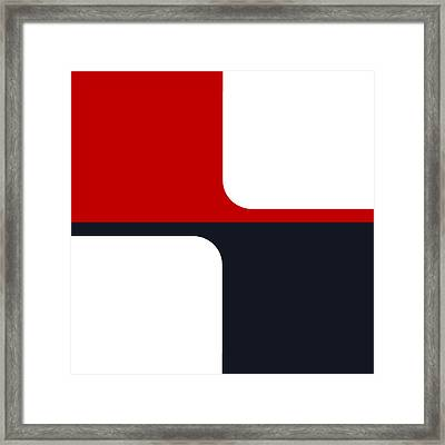 Trendy White Red And Navy Graphic Color Blocks Framed Print by Tracie Kaska