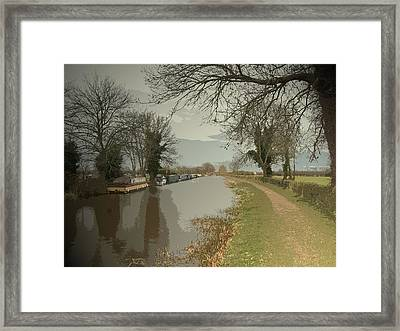 Trent And Mersey Canal Near Chapel Farm, Boats Moored Framed Print by Litz Collection