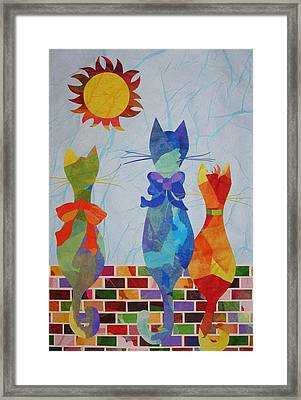 Framed Print featuring the mixed media Tres Gatos by Diane Miller