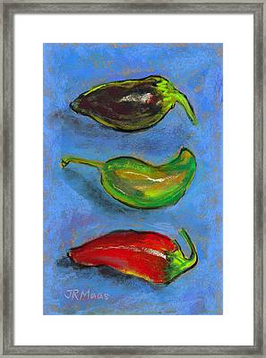 Tres Peppers Framed Print by Julie Maas