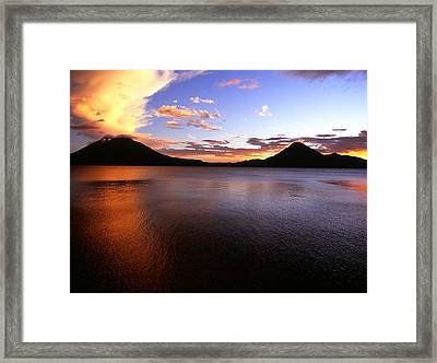 Tres Volcans At Sunset Framed Print