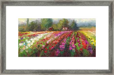 Framed Print featuring the painting Trespassing Dahlia Field Landscape by Talya Johnson