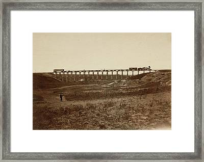 Trestle Bridge Near Fort Harker, Kansas Alexander Gardner Framed Print