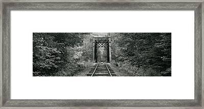 Trestle Bridge Over Railroad Track Framed Print
