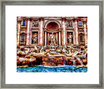 Trevi Fountain Art Landscape Painting Framed Print by Andres Ramos