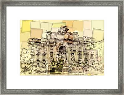Trevi Fountain Cubism Framed Print