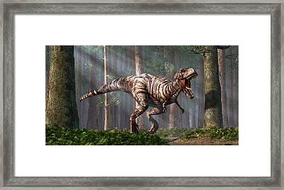 Trex In The Forest Framed Print by Daniel Eskridge