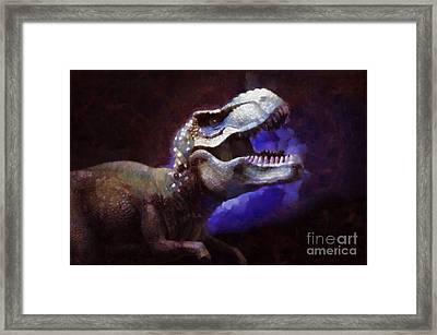 Trex Roar Framed Print by Pixel Chimp