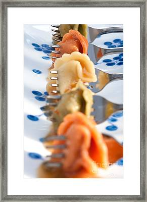 Tri Color Tortellini In Row Framed Print by Iris Richardson