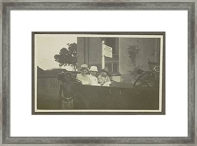 Triad Sitting In The Backseat Of A Car, Leading A Boy Framed Print by Artokoloro