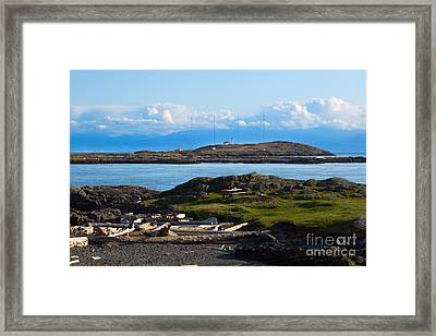 Trial Island And The Strait Of Juan De Fuca Framed Print by Louise Heusinkveld