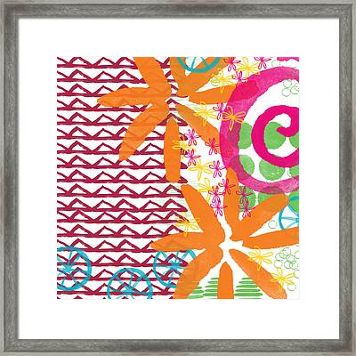 Triangles And Flowers- Colorful Painting Framed Print