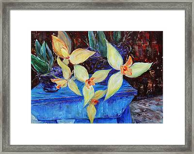 Framed Print featuring the painting Triangular Blossom by Xueling Zou