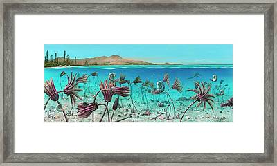 Triassic Land And Marine Life Framed Print