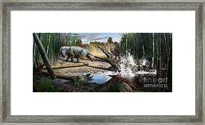 Triassic Mural 1 Framed Print by Julius Csotonyi