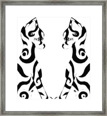 Tribal Black Cats On White Framed Print by Josephine Ring