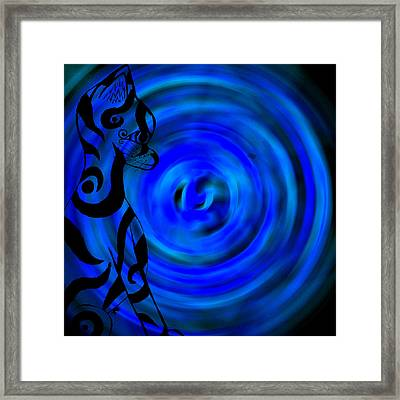 Tribal Cat On Blue Swirl Framed Print by Josephine Ring