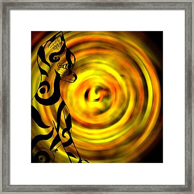 Tribal Cat On Yellow Framed Print