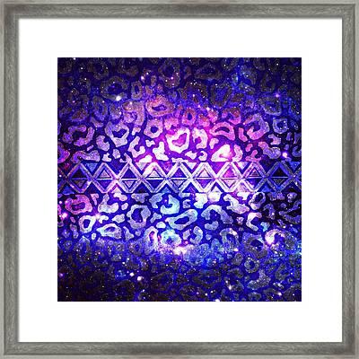 Tribal Leopard Galaxy Framed Print