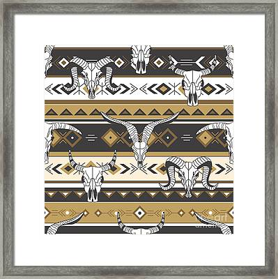 Tribal Seamless Pattern With Skulls Of Framed Print