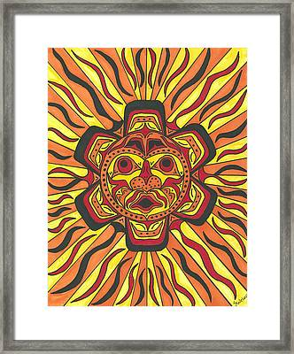 Framed Print featuring the painting Tribal Sunface Mask by Susie Weber