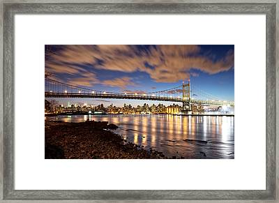 Triboro At Night Framed Print by Vicki Jauron