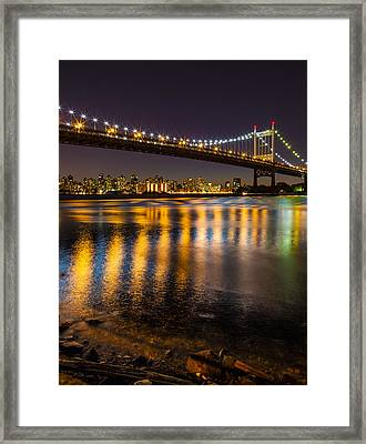 Triborough At Night Framed Print by Chris Halford