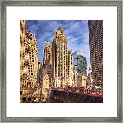Tribune Tower And Dusable Bridge In Framed Print by Paul Velgos