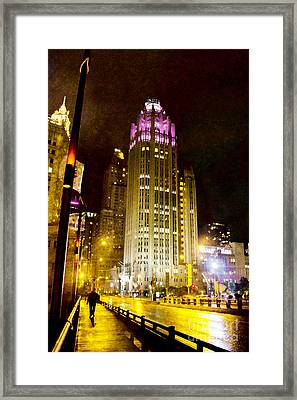 Tribune Tower On A Rainy Night Framed Print by Jeanette Brown