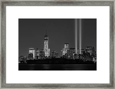 Tribute In Light 2013 Bw Framed Print by Susan Candelario