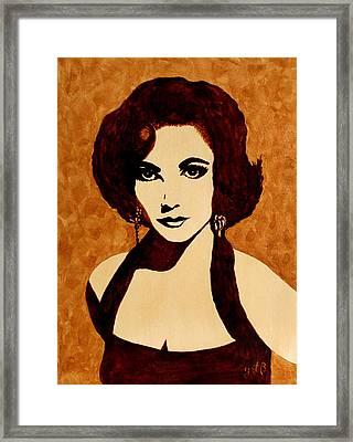 Tribute To Elizabeth Taylor Coffee Painting Framed Print by Georgeta  Blanaru