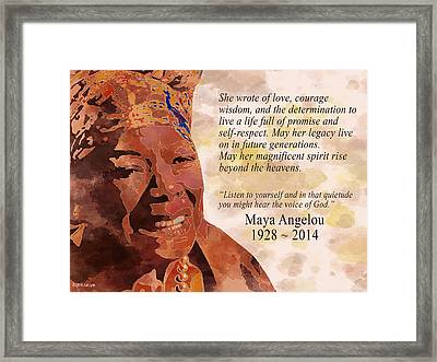 Tribute To Maya Angelou Framed Print