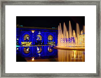 Union Station And Fountain In Royal Blue Framed Print