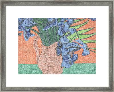 Tribute To Van Gogh's Irises Framed Print by William Burns