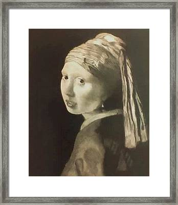 Tribute To Vermeer Homenaje A Jan Vermeer Framed Print by Fernando A Hernandez
