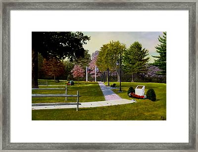 Framed Print featuring the painting Tribute Walkway by Rick Fitzsimons