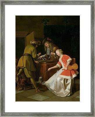 Tric-trac Players With A Lady And Her Dog Oil On Canvas Framed Print