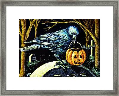 Trick Or Treat Crow Framed Print by Monique Morin Matson