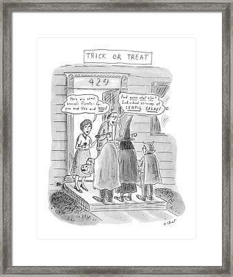 Trick Or Treat 'here Are Some Broccoli Florets - Framed Print by Roz Chast