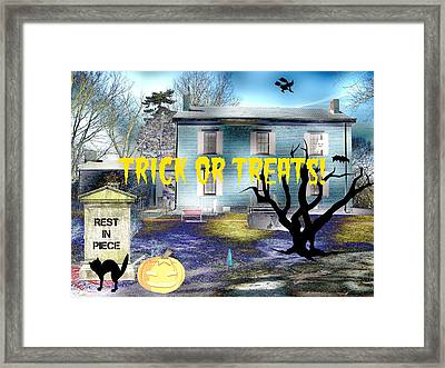 Trick Or Treats Haunted House Framed Print