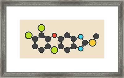 Triclabendazole Anthelmintic Molecule Framed Print by Molekuul