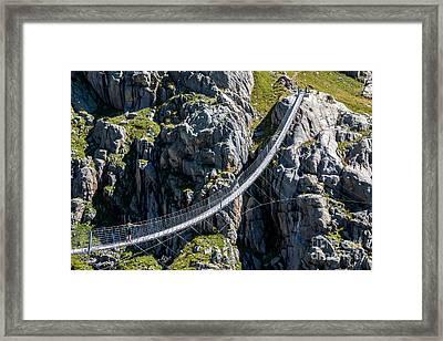 Triftsee Suspension Bridge - Swiss Alps Framed Print by Gary Whitton