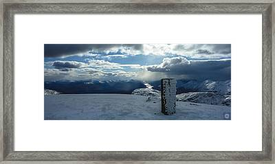 Trig Point On Gulvain Framed Print by Anatole Beams