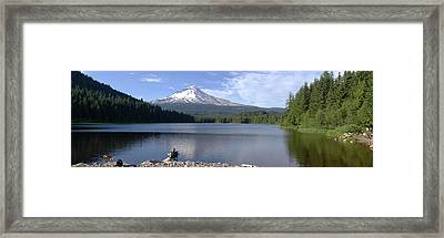 Trillium Lake And Mt Hood Panorama Oregon. Framed Print by Gino Rigucci