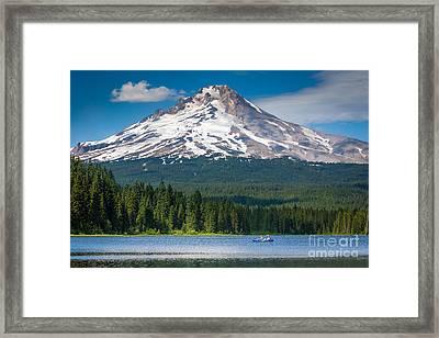 Trillium Lake Blue Canoe Framed Print by Inge Johnsson